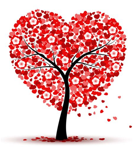 tree hearts hearts with flower tree valentines day vector background