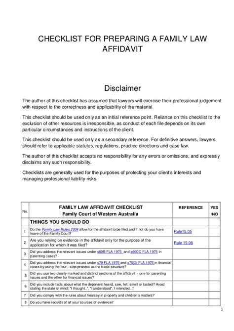 Checklist For Preparing A Family Court Affidavit Preparing A Will Template