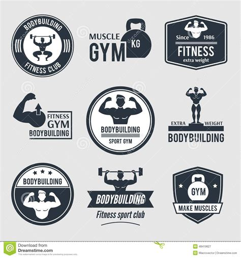 Fitness Black Label Club by Bodybuilding Label Set Stock Vector Image 48419627