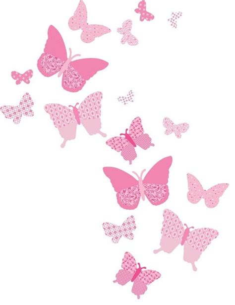 Vintage butterfly wall decals pink craftsman kids wall decor by fun rooms for kids