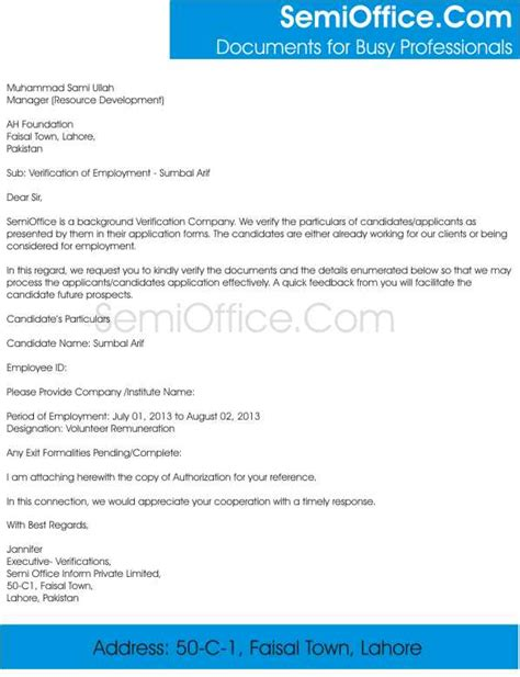 Proof Letter Verification Of Employment Sle Letter