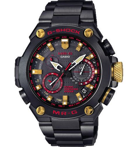 casio mrg g shock mrg g1000b 1a4 with crimson and gold accents g