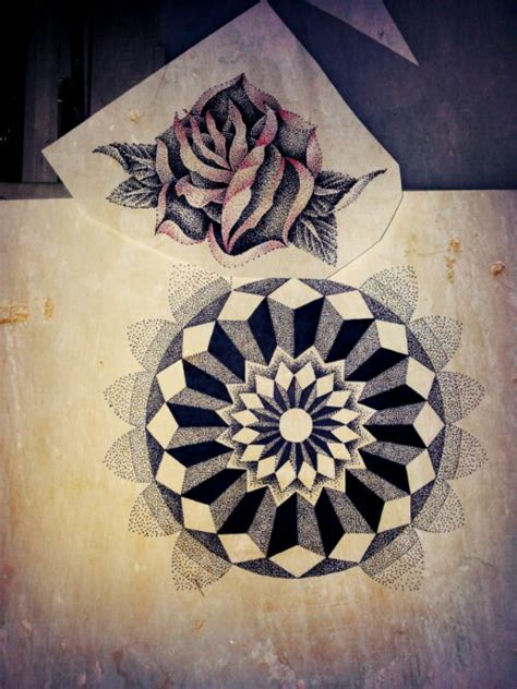 a rose and 3d mandala mary jane tattoo dotwork artist