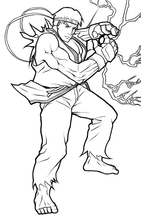 Ryu Coloring Pages ryu from fighter free coloring pages