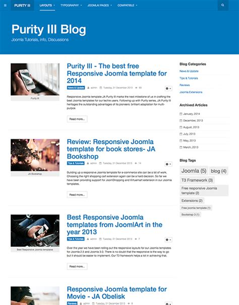 create blog layout joomla purity iii the best free responsive joomla template