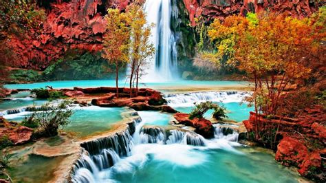 themes of nature by hd carberry beautiful nature wallpaper with waterfall in autumn forest