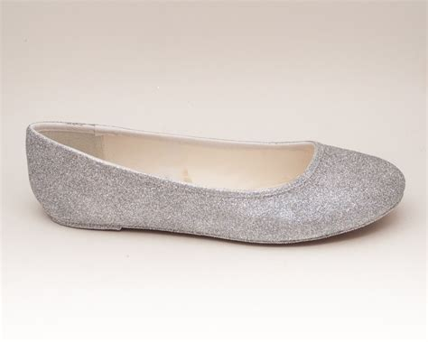 Flat Poxing Glitter Silver glitter bright silver ballet flat sparkle by princesspumps