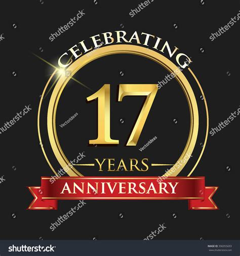 17 in years celebrating 17 years anniversary logo golden stock vector 396955693