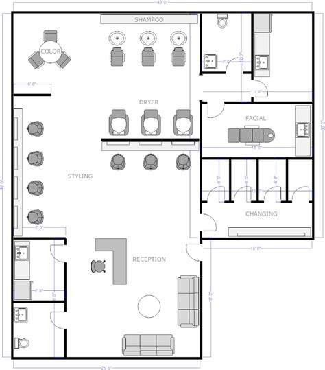 floor plan of spa free salon floor plans barber shop salons
