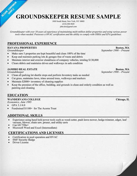 groundskeeper resume sle groundskeeper resume resume ideas