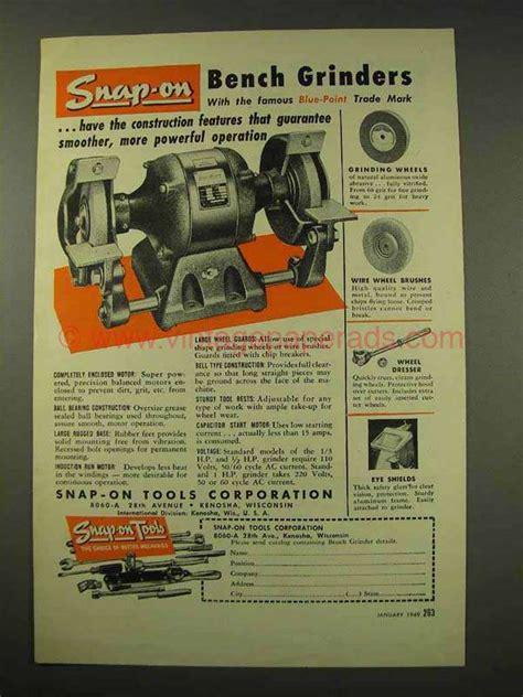snap on bench grinder 1949 snap on tools bench grinder ad