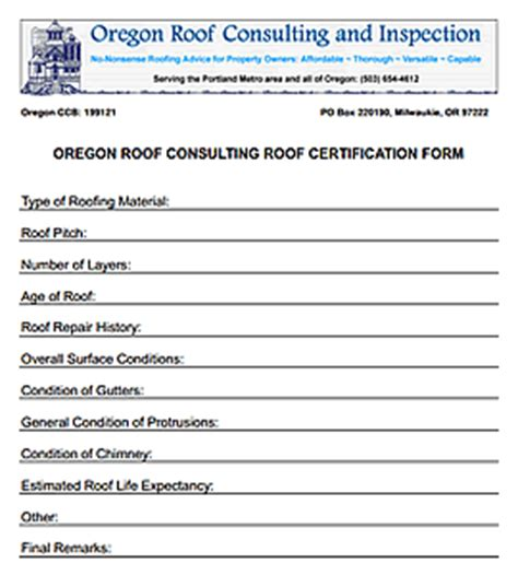 roof certification template oregon washington roof consulting roof certification