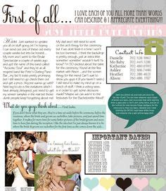 Smart 1 Pager To Give The Bridal Party All Of The Immporant Info In One Place For The Next Bridesmaid Newsletter Template