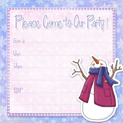 free printable party invitations free snowman invite