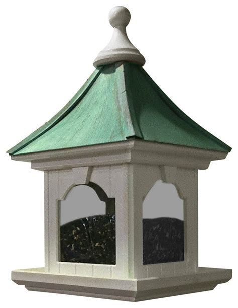 vinyl copper bird feeder large capacity hanging patina