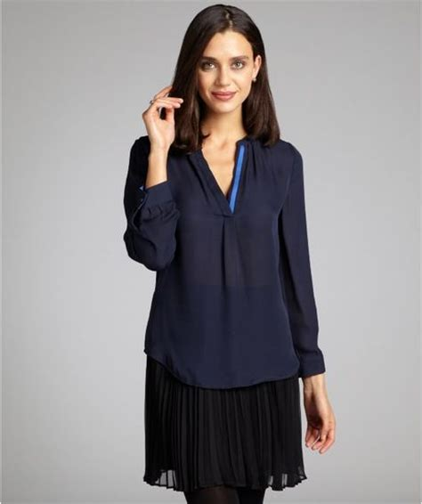 contrast trim sleeve blouse joie navy contrast trim silk sleeve blouse in blue