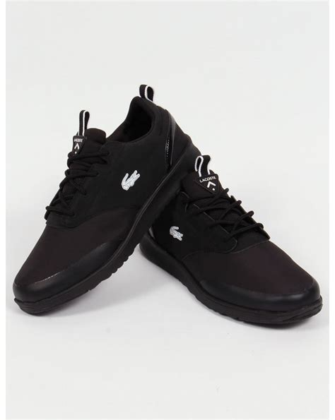 black sole sneakers lacoste light 2 0 trainers black black sole shoes running