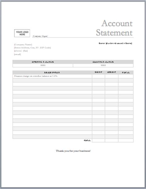 template statement of account statement templates microsoft word templates