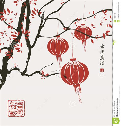 Draw Plans china lantern stock vector image 57593462