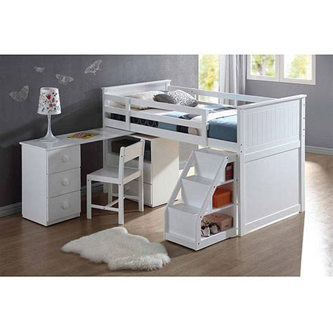 walmart loft bed with desk white wyatt twin loft bed white walmart com