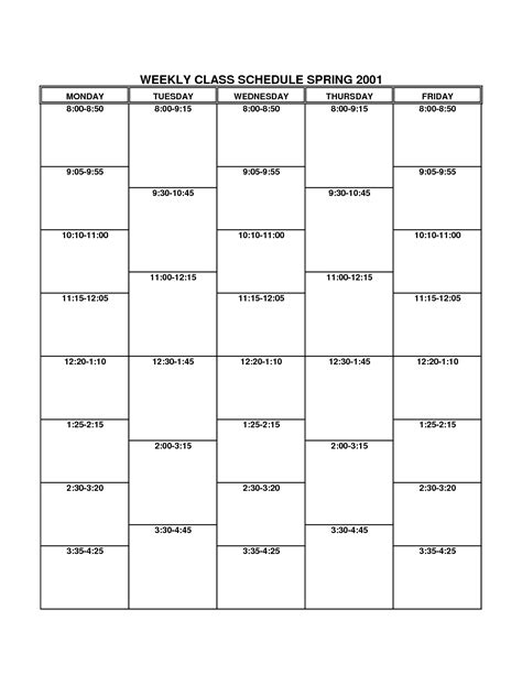 free printable class schedule template search results for hourly schedule template printable