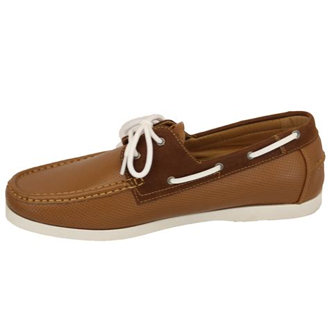 mens shoes d555 duke leather look boat driving king size