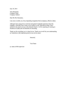 resignation letter due to military service