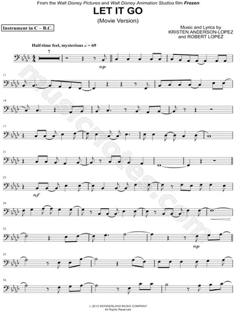quot let it go version bass clef instrument quot from