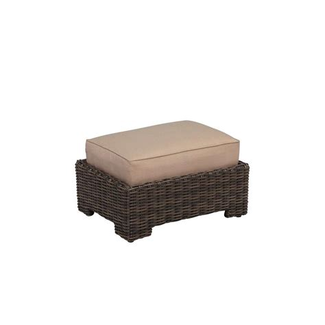 Martha Stewart Ottoman Martha Stewart Living Charlottetown White All Weather Wicker Patio Ottoman With Washed Blue