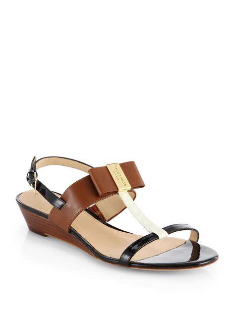 Sandal Wedges Kate Spade kate spade vinny leather t wedge sandals in black