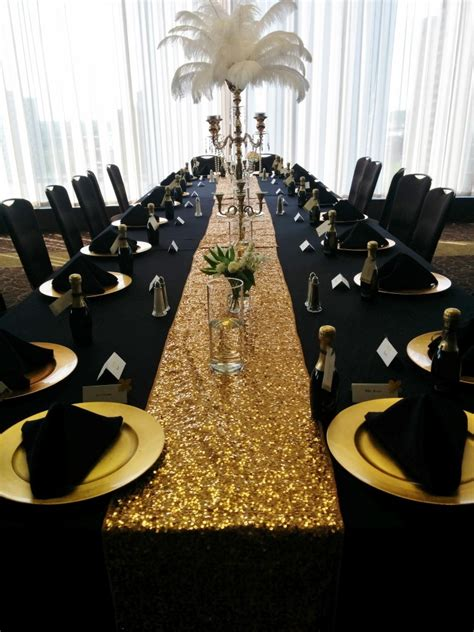 Black And Gold Table Decorations by Black Table Linens Gold Charger Plates Black Napkins