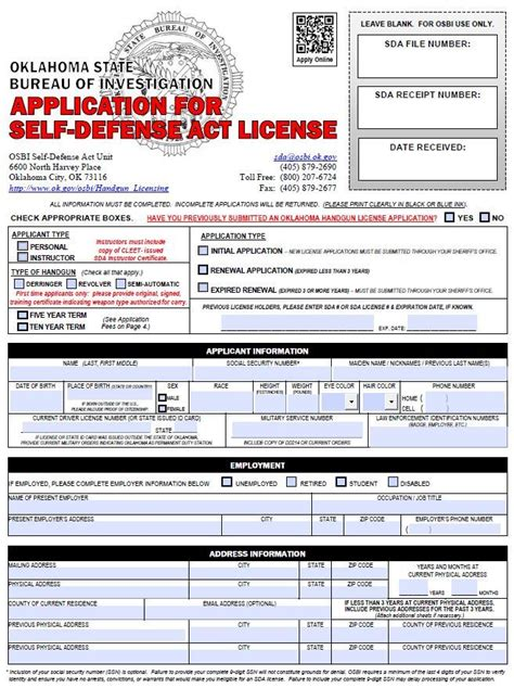 oklahoma section 8 application handgun license requirements cleveland county sheriffs