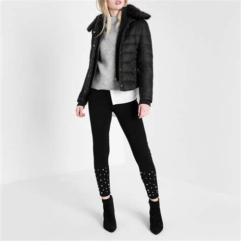 Faux Fur Collar Padded Coat black padded faux fur collar jacket coats jackets