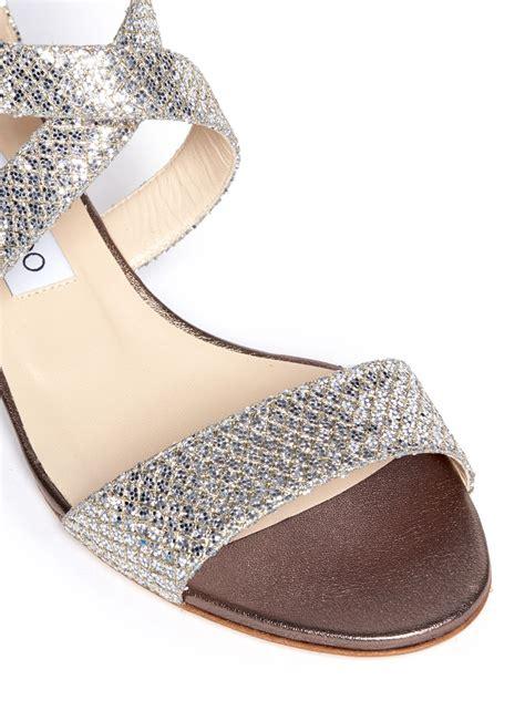 glitter sandals lyst jimmy choo chiara glitter wedge sandals in metallic