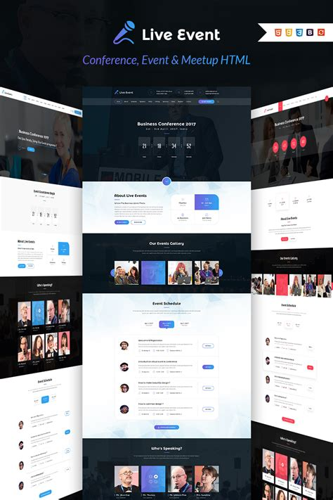 Live Event Conference Event Meetup Html Template Website Template 64668 Conference Website Template Free