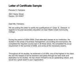 Certification Letter Training Letter Of Certificate