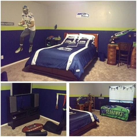 seattle seahawks bedroom seahawks bedroom with gaming area my home pinterest