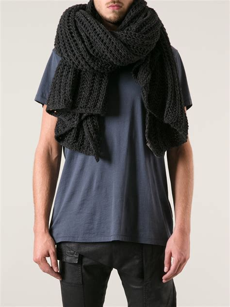 grey knit scarf rick owens ribbed knit scarf in gray for lyst