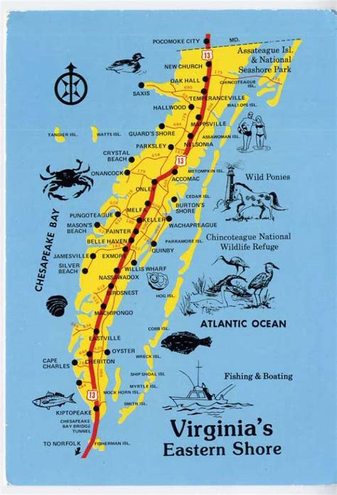 map maryland eastern shore towns cape charles temperanceville eastern shore map postcard