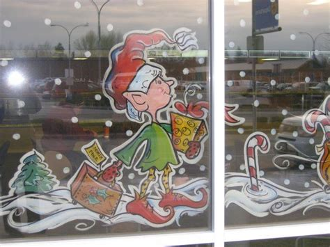 window painting signs christmas holiday seasonal artist elf leaving on a trip window painting window painting