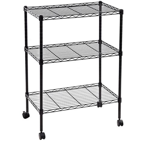 3 Tier Shelf Shelving Adjustable Wire Metal Storage Rolling Rack Chrome Black Ebay Wire Shelving Installation Template