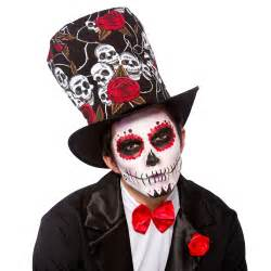 day of the dead top hat mens ladies halloween fancy dress