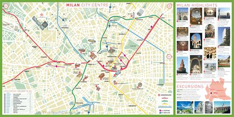 tourist map of with attractions image gallery milan map