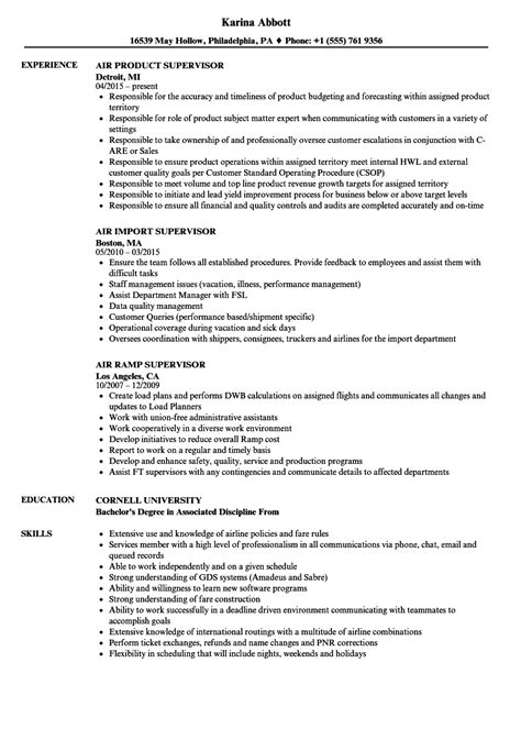 Cargo Supervisor Resume by Supervisor Air Resume Sles Velvet