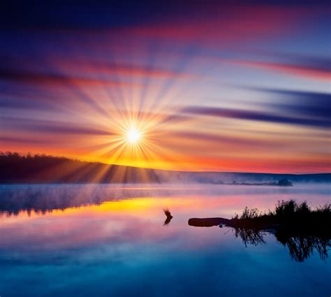 Wall Murals Beach Scenes beautiful summer sunset in the lake hdr image by