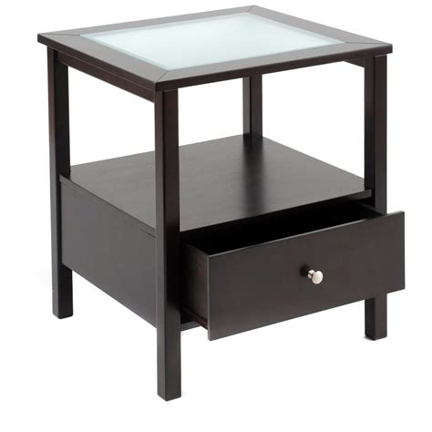 glass end tables for living room end table with glass insert top and drawer 194746
