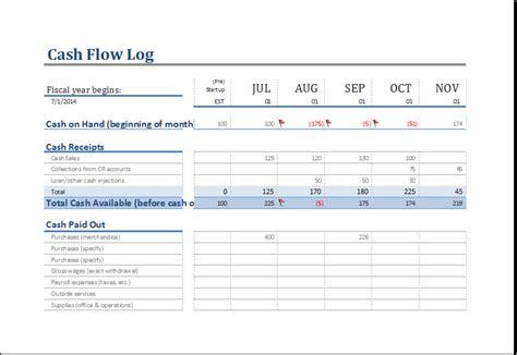 cash flow log template  ms excel excel templates