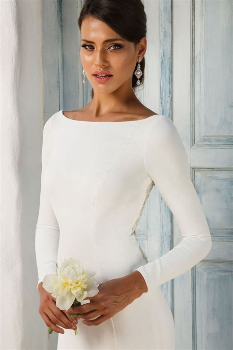 wedding gowns for women over 45 style 8936 crepe long sleeved wedding dress with beaded