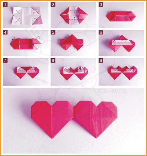 Origami Paper Hearts - how to fold origami pictures photos and