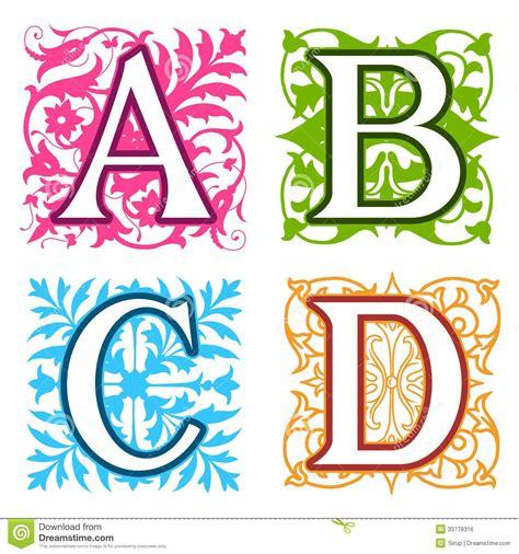 A, B, C, D, Alphabet Letters Floral Elements Royalty Free ... D Alphabet Design